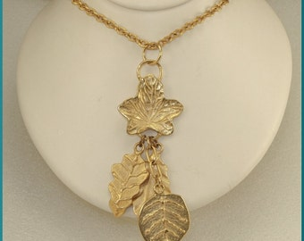 ON SALE Beautiful Vintage Gold Tone Cascading Leaves Pendant Necklace