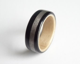 Ebony and Maple Bent wood ring with Grey Birsdseye Maple Inlay band, Hand made to order in any UK or US size