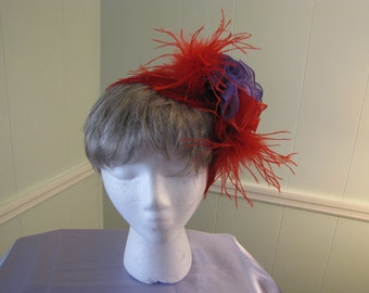 Red and Purple Flower Bow clip with feather's