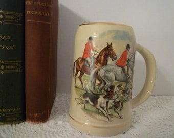 VINTAGE ENLISH HUNT Tankard. Cottage Decor. English Hunt Scene. Porcelain Mug.