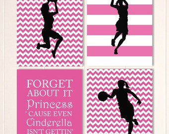 Girls sports art, girls basketball, sports art, basketball, girls wall art, girls bedroom decor, inspirational girls quote, custom colors