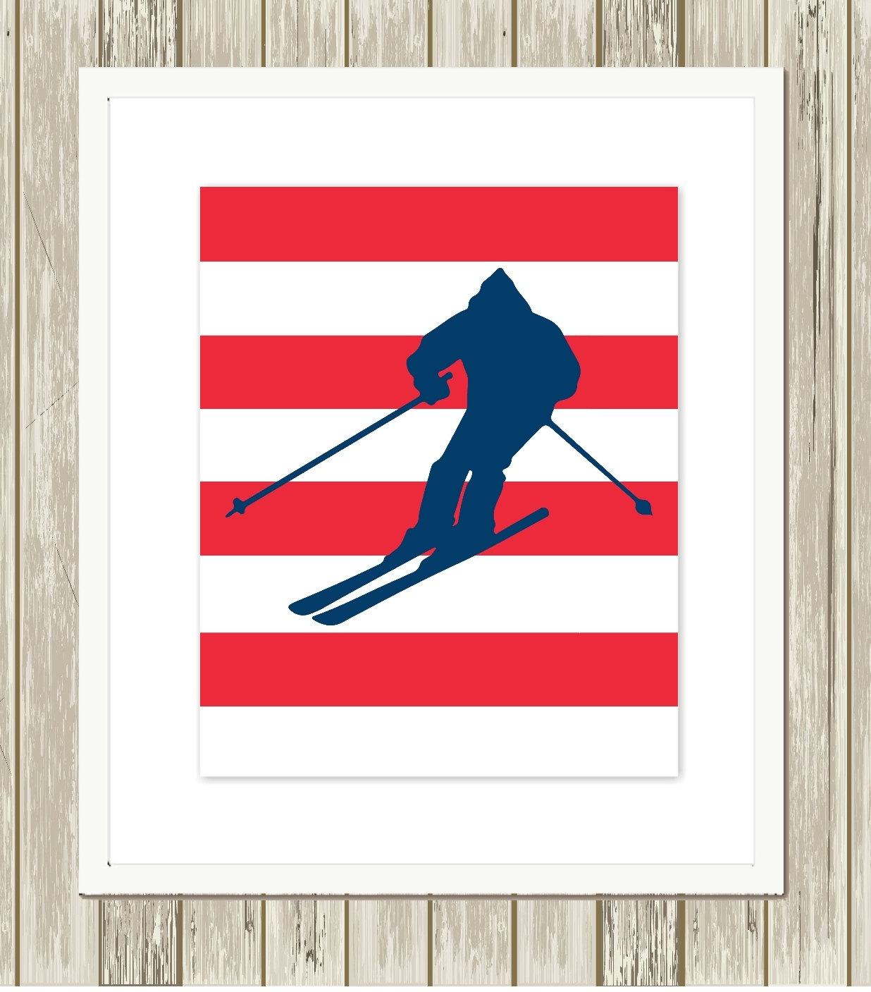 Boys wall art boys room decor skier skiing by picabooartstudio for Boys wall art