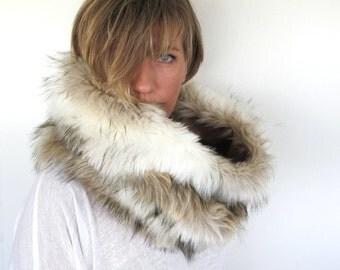 Luxury snood, handmade of quality super soft faux fur. Neckwarmer, scarf.