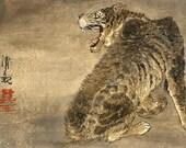 Japanese Tiger FINE ART PRINT, japanese asian animal art, tiger art prints, posters, animal paintings, tiger paintings, woodblock prints