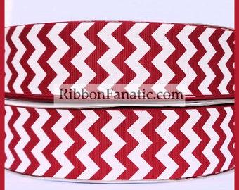 "5 yds 1.5"" Crimson Red Scarlett Chevron Grosgrain Ribbon Alabama Oklahoma"
