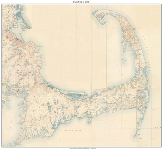 Cape Cod 1890 USGS topographical map Reprint Custom Composite of ...
