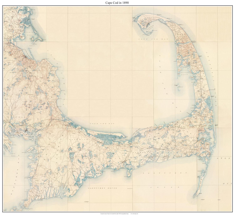 Cape Cod 1890 USGS Old topo map Reprint Custom Composite