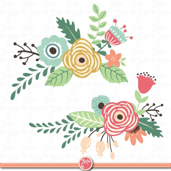 Flowers Clipart pack: FLOWER CLIP ART pack vintage by ...