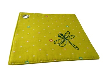 Dragonfly, oven cloth, sewn and screen printed by hand