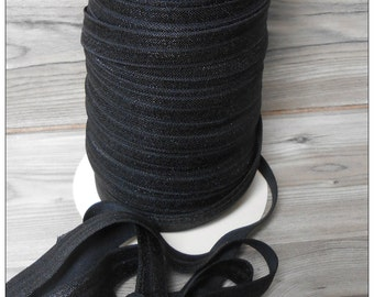 5/8 BLACK Fold Over Elastic 5 or 10 YARDS