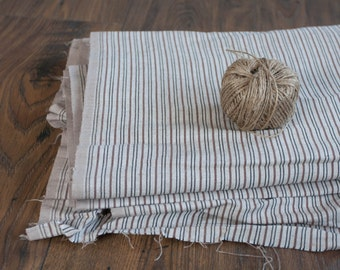Striped Fabric Linen and Cotton - by the yard, Vintage Fabric, Beige Brown Natural, Stripes, Sewing Supply Yardage