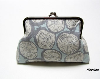 Cosmetic bag purse toiletry bag clutch Tree Rings