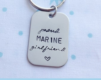 Proud Marine Girlfriend, Custom Keychain, Military Wife, Military Spouse, Deployment, Wedding Gift, Anniversary Present