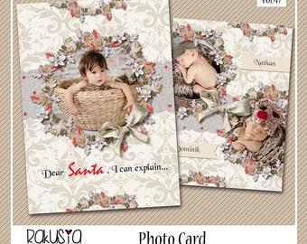 Dear santa i can explain, Card Template, 7x5 in, Photocard/Birth Announcement/Any Ocassion, psd template vol.47
