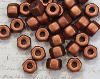 Silky Copper Hexagon Nuts, Czech Glass, 12 Beads- Item 1560