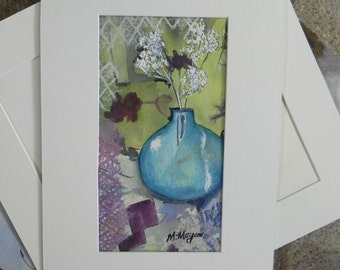 Floral Still Life Watercolor Painting with Mixed Media Accents
