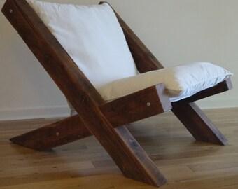 Barn Wood Lounge Chair. Reclaimed Wood Lounge Chair. Fabric Lounge Chair