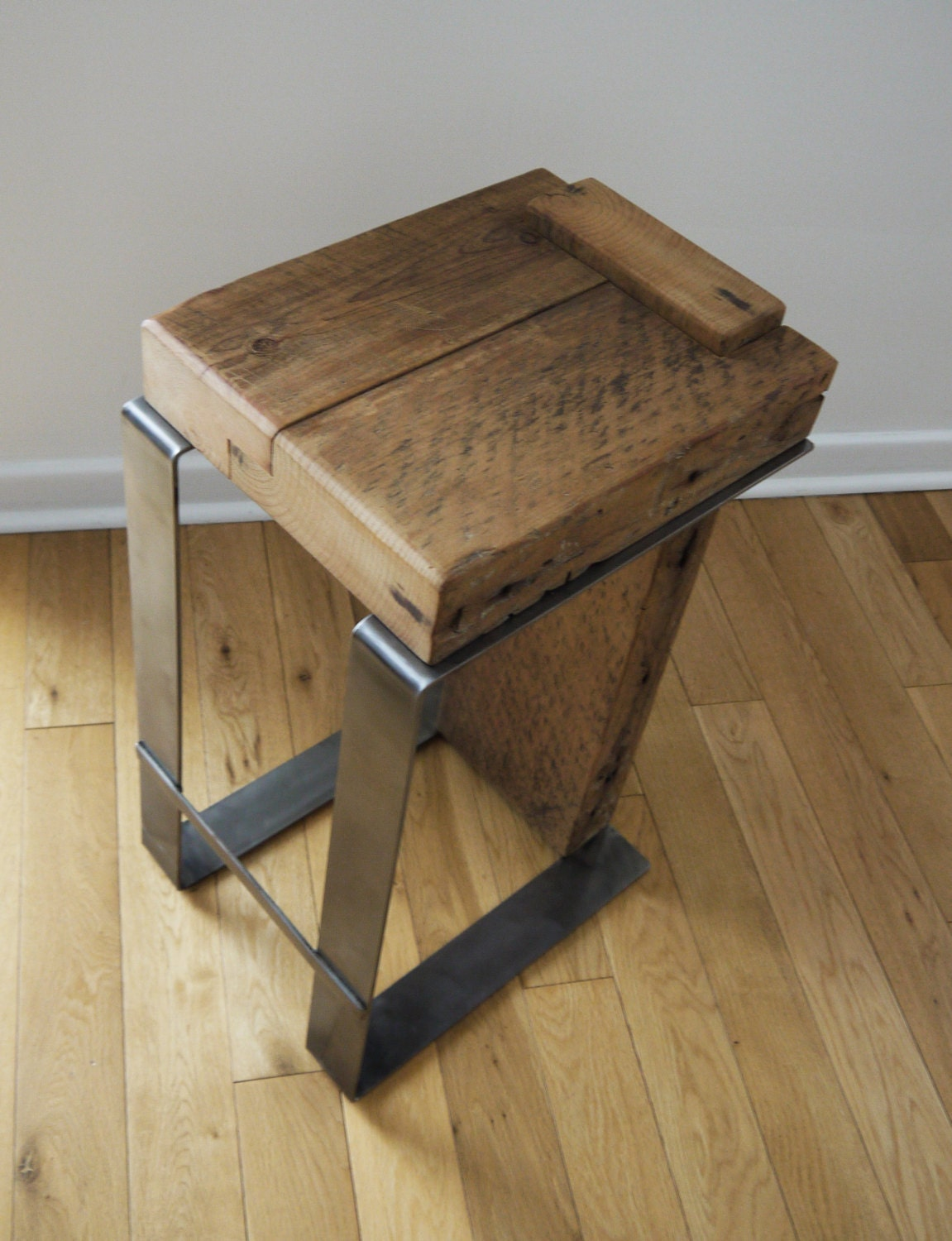Wooden Furniture Stools ~ Reclaimed wood bar stool industrial handmade