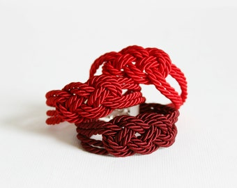 Red Bracelet, Knot Bracelet, Rope Bracelet, Sailor Knot,Rope Knot Bracelet,Nautical Bracelet,Nautical Knot,Friendship,Nautical Jewelry,Red