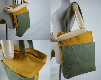 SALE - Hip Boho Mustard & Dusty Green Cotton Canvas Women Bag Handbag Tote/ Shoulder Bag/ Crossbody Bag/Travel Bag/Everyday Bag  - B023