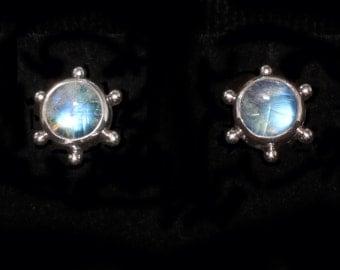 Moonstone Silver Stud Earrings: STAR