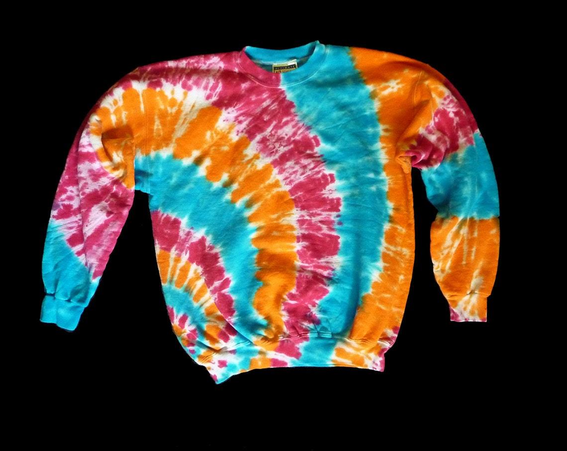 tie dye crewneck sweatshirt sleeved m