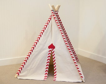 Kid's Teepee Tent No. 0239 - Red Chevron & Natural Canvas Play Tent