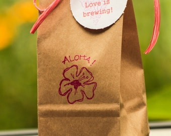 Custom Hawaiian KONA Coffee Wedding Favors. Shower Favors. Kraft Bags.