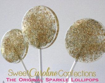 Gold Sparkle Lollipops, Gold Holiday Candy, Hard Candy Lollipops, Gold Party Favors, Lollipops, Sweet Caroline Confections-SIX LOLLIPOPS