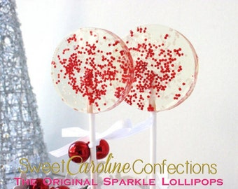 Christmas Lollipops, Red Favors, Holiday, Wedding Favors, Lollipops, Candy Lollipops, Holiday Favors, Powder Blue and Red-Set of Six