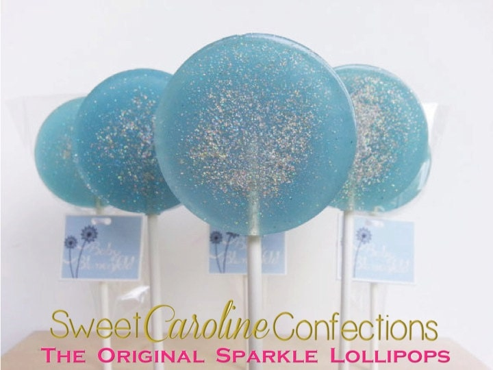frozen lollipops baby blue lollipops baby shower favors