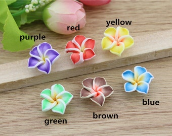 20 PCS 15mm Fimo Flowers Hawaiian Flower Beads Polymer Clay Flower For DIY
