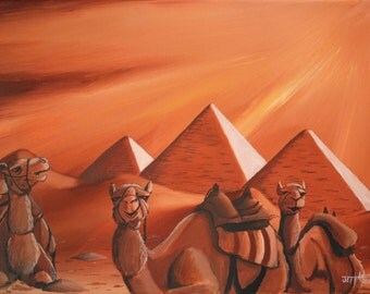 Lazy Camels 9x12 Oil on Canvas.Unframed. Camel Painting. Egypt Painting. Painting of Camels. Pyramid painting