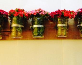 Mason Jar Wall Planter - 5 Piece Holder