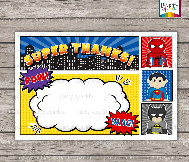 INSTANT DOWNLOAD Superhero Birthday Invitation Blank Thank