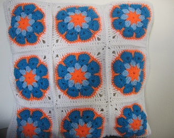 Crochet Cushion Cover Pillow. Granny Square. African Flower. Free Shipping