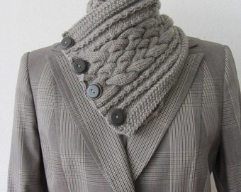 Knit pattern, Taupe chunky knit cowl scarf, neckwarmer, vintage buttons, cable pattern, DIY