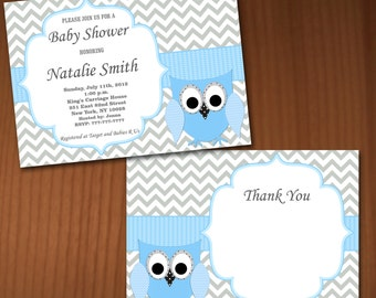 Owl Baby Shower Invitation Boy Baby Shower invitations Printable Baby Shower Invites -FREE Thank You Card - editable pdf Download (561) blue