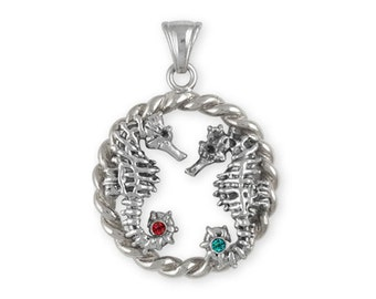 Solid Sterling Silver Double Seahorse Pendant  With Birthstone Accents  SE1-P