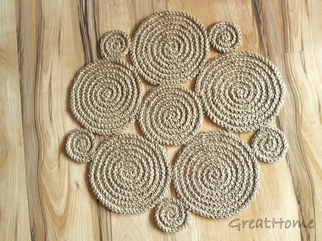 small flower crochet natural jute rug braided rug by greathome. Black Bedroom Furniture Sets. Home Design Ideas