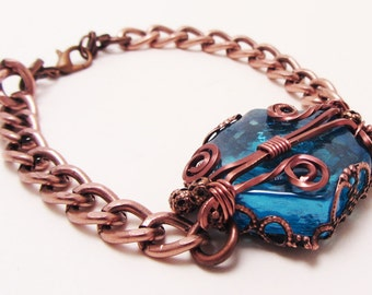Copper Bracelet with Wire Wrapped Glass,  Fantasy