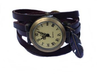 "Wrap Watch, Bracelet Watch, Wrist Watch, Vintage Watch  ""Feather"" Bracelet: dark brown"