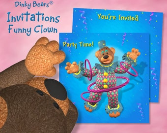 Dinky Bears Hula Hooping Clown Invitation - Digital Download