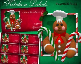 "Gingerbread Man ""Candy Canes"" Kitchen Labels - Digital Download"