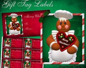 "Gingerbread Girl ""Heart"" Gift Tag Labels - Digital Download"