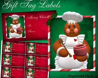 "Gingerbread Girl ""Honeypot"" Gift Tag Labels - Digital Download"