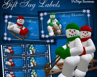 Vintage Snowmen on Sledge Gift Tag Labels - Digital Download