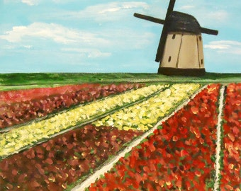 Windmill with tulip field, Original painting on 8x8 canvas, Home Decor, Gift