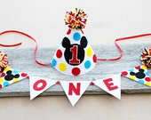 Boys Mickey Mouse 1st Birthday Party Hat - Cake Smash - Boys Mickey Mouse High Chair One Banner