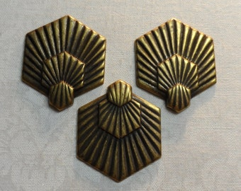 "Vintage gold plated brass blanks,1&1/4""x1"",3pcs-KC47,"